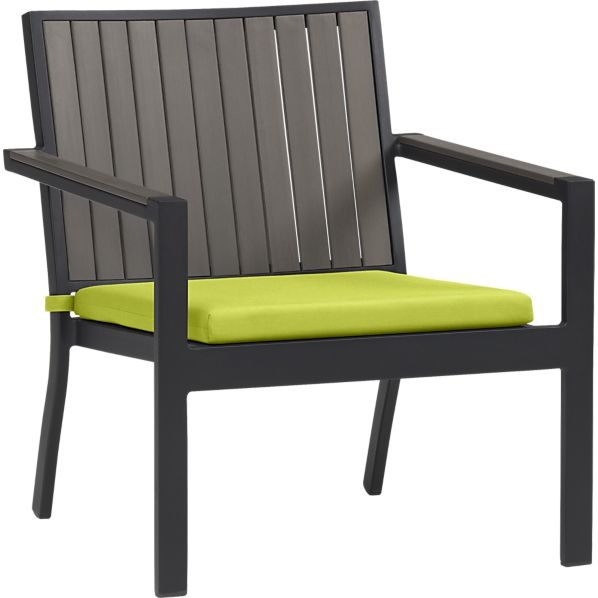 alfresco grey lounge chair with sunbrella apple cushion in outdoor seating crate and barrel