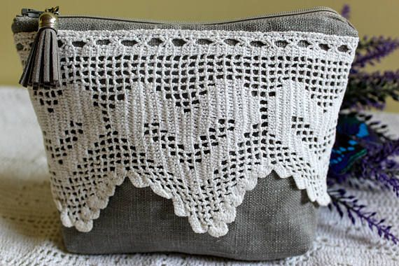 Linen Makeup Bag with Vintage Crochet Lace and Tassel