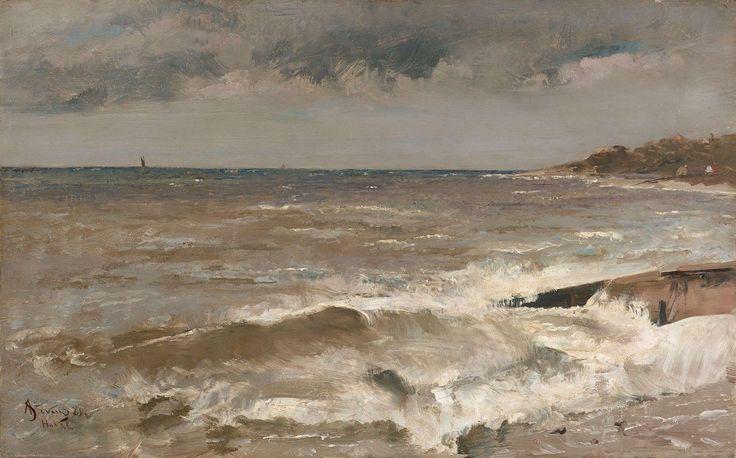 Альфред Стивенс (1823 - 1906). Le Havre, 1881 г. Дерево, масло, 41 х 66 см