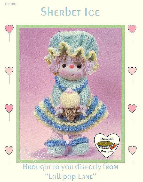Sherbet Ice, Dumplin Designs Lollipop Lane doll crochet pattern ca.picclick.com