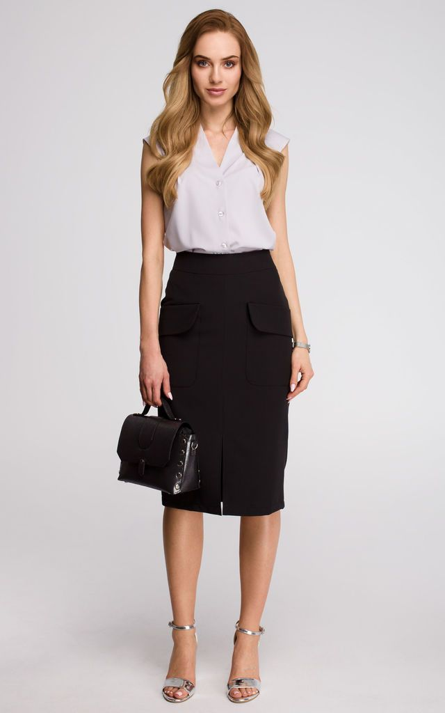 d8a802cd46 Black pencil skirt with front pocket by MOE