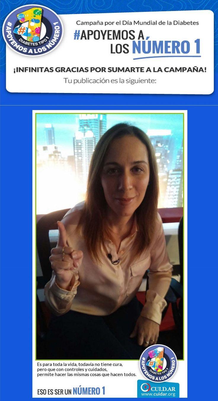 MARIA EUGENIA VIDAL(Gobernadora electa de la Provincia de Buenos Aires) Entrá y sumate a la Campaña de CUI.D.AR por el Día Mundial de la Diabetes #Apoyemosalosnumero1