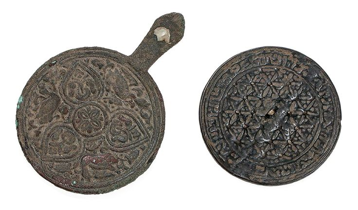Two Bronze Mirrors with Floral Motif, Khorasan, 12th/13th C