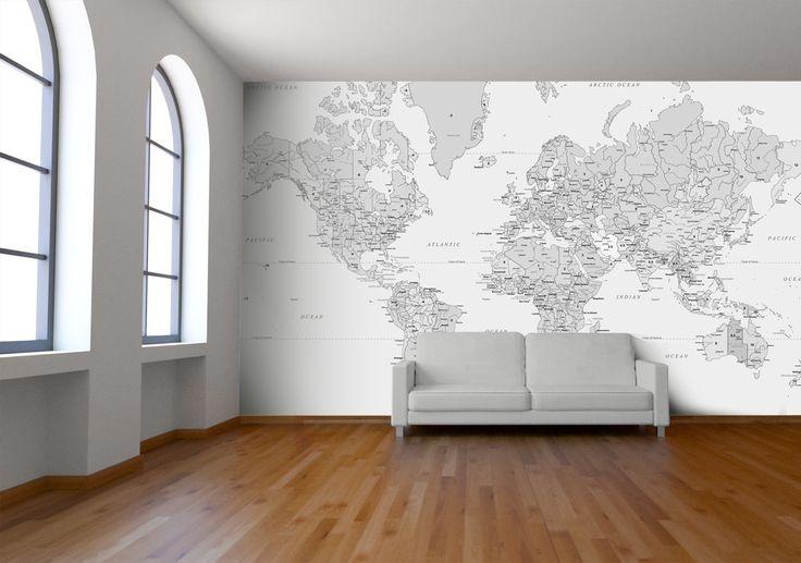 Black and White World Map Wallpaper by Watts London   Design By Watts London   StuckUp!