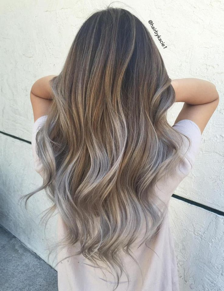 Light Brown And Silver Balayage Hair