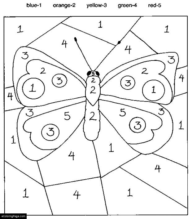 Color By Numbers Butterfly Coloring Page for Kids