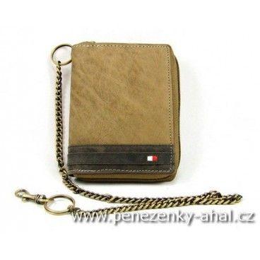 Kvalitní pánská peněženka kožená na zip s řetízkem. Značka Always Wild.