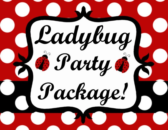 Ladybug Birthday Invitation Party Package by CutiesTieDyeBoutique, $42.00