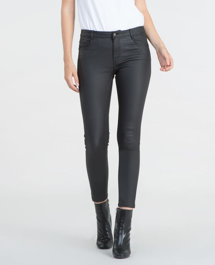 Skinny tobilleros encerados negro