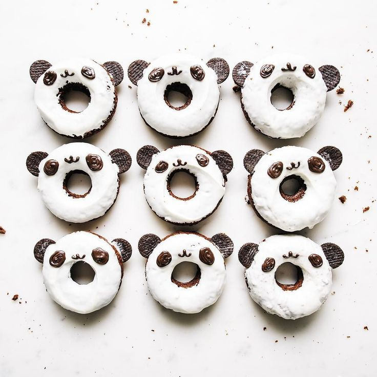 what's black and white and cute all over? panda donuts! i just love their lil faces. i'm celebrating #nationaldonutday with these chocolate cuties. to see how to bake these guys up and decorate them head on over to @aerie's blog