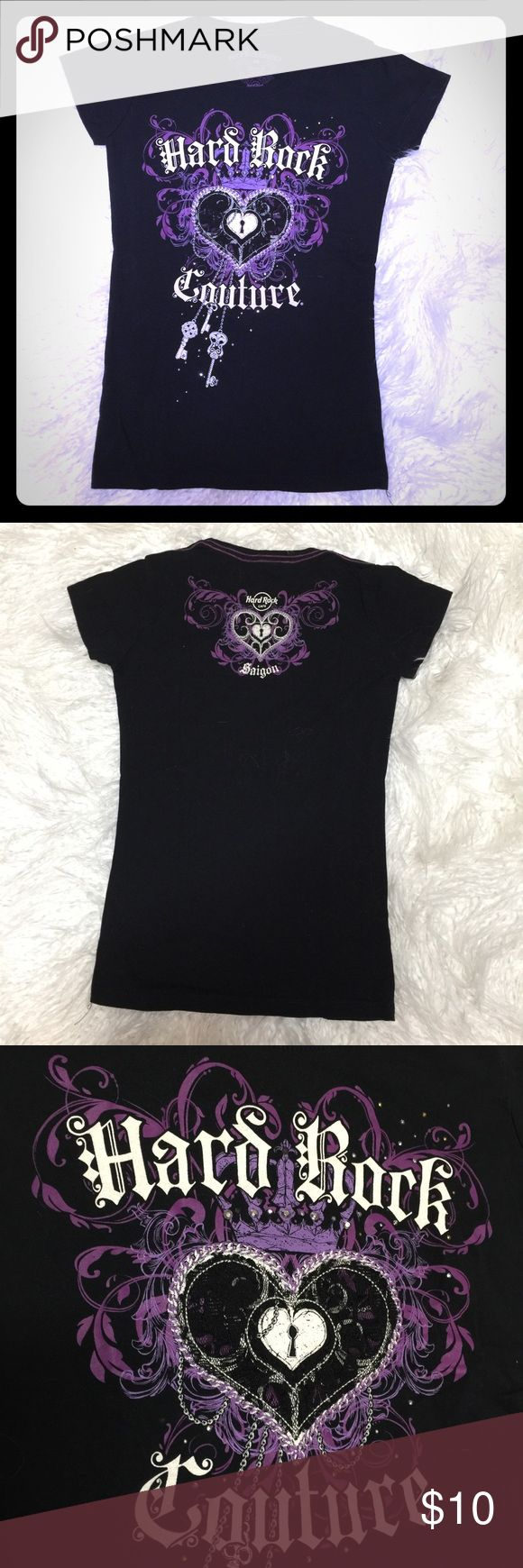 """Beautiful Authentic Girls Top Hard Rock Cafe XS Like new condition Authentic guaranteed From Hard Rock Cafe Saigon Vietnam  100% Cotton Black soft fabric with gorgeous purple prints and white cursive letters  12"""" Shoulder , 14"""" chest, 23"""" length. Hard Rock Cafe Tops Tees - Short Sleeve"""