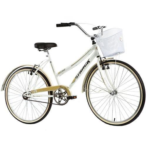 Bicicleta Feminina Classic Plus Aro 26 Com Cesto Track Bikes - Branco