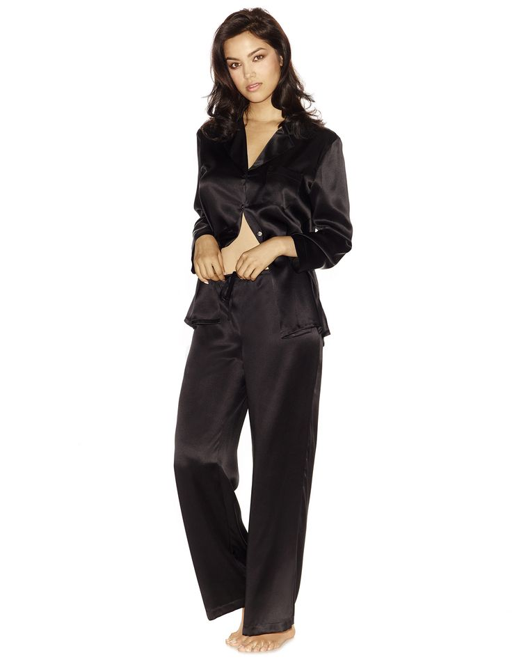 Black Silk Pajamas: Morgan Silk Pajama Set In Black
