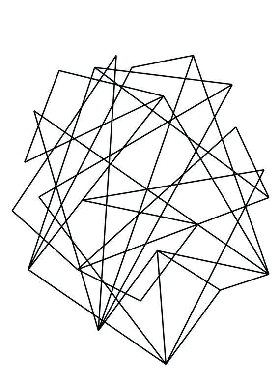 Abstract Geometric Print Geometric Art Black by MelindaWoodDesigns