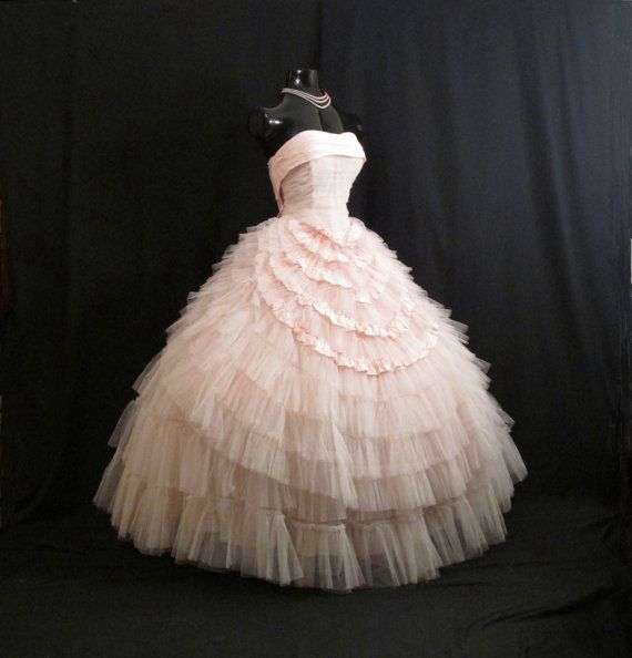 Vintage 1950's 50s Bombshell STRAPLESS Pink Tulle Taffeta Circle Skirt Party Prom Wedding Dress Gown