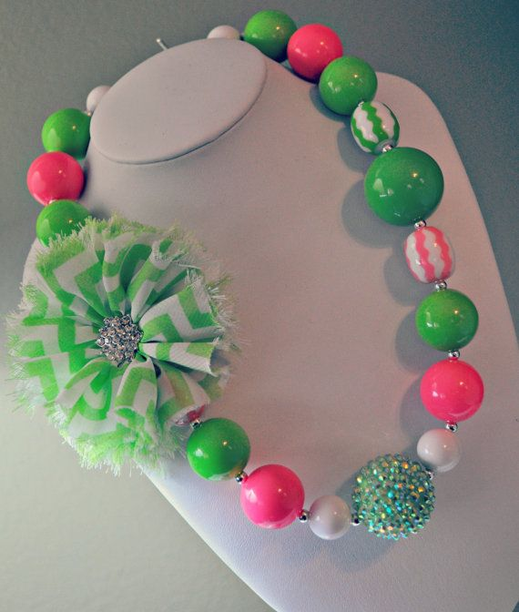 SALE Bubblegum Necklace  Chunky Necklace  Chevron by TrendyGwendy, $18.00