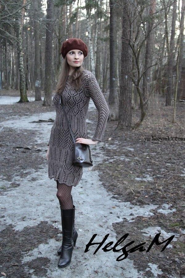 Меланжевое платье спицами с описанием. Схема и описание вязания платья спицами