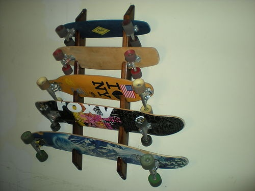 Skateboard Longboard Wall Rack Mount Display Or Storage   Holds 5 | $40.00