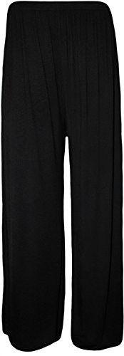 Fashion Oasis Women's Standard & Plus Floral Print Palazzo Wide Leg Trousers 20-22 Black Plain