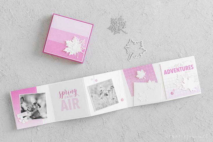 Ein Minialbum, welches mit dem Designerpapier im Block Farbenspiel und Holzdekor von Stampin' Up! gestaltet wurde