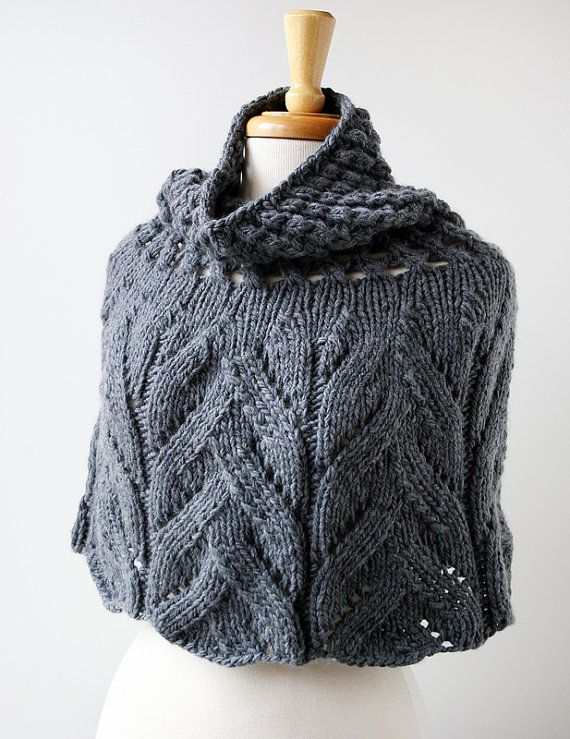 Organic Merino Wool Knit Capelet - Charcoal Grey