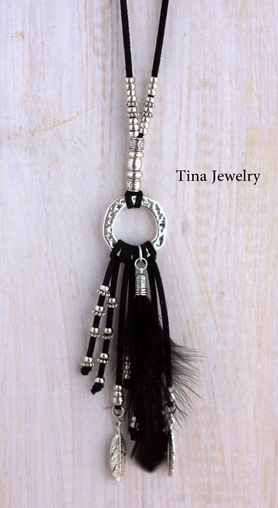 Quaste Halskette Silber Kreis Halskette Frauen Boho Schmuck Leder Halskette Silb…