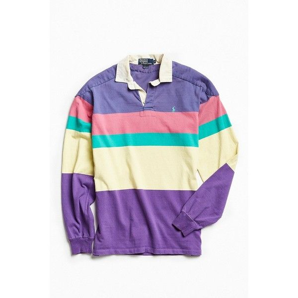Vintage Polo By Ralph Lauren Colorblocked Rugby Shirt ($89) ❤ liked on Polyvore featuring men's fashion, men's clothing, men's shirts, men's casual shirts, mens vintage shirts, mens padded shirts, mens panel shirts and mens cotton shirts