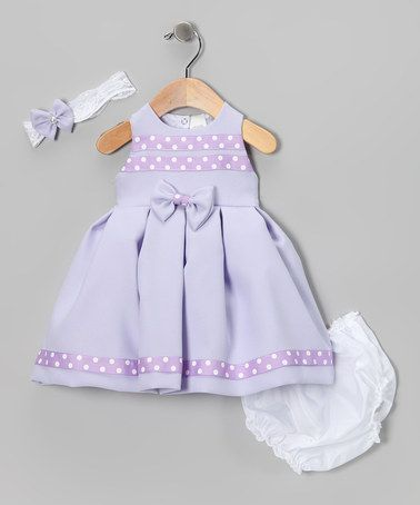 Take a look at this Lavender Polka Dot Bow Dress Set by Shanil on #zulily today!