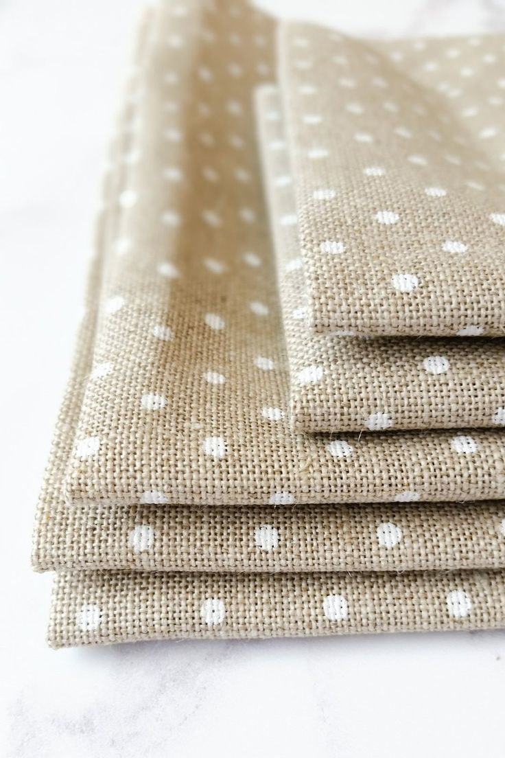 Natural and White Polka Dot Linen Fabric for Cross Stitch and Embroidery #crossstitch #handembroidery #moderncrossstitch