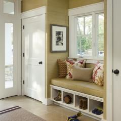 mud room area by back door - bigger window, bench seat, pull-out shoe trays, hidden closet