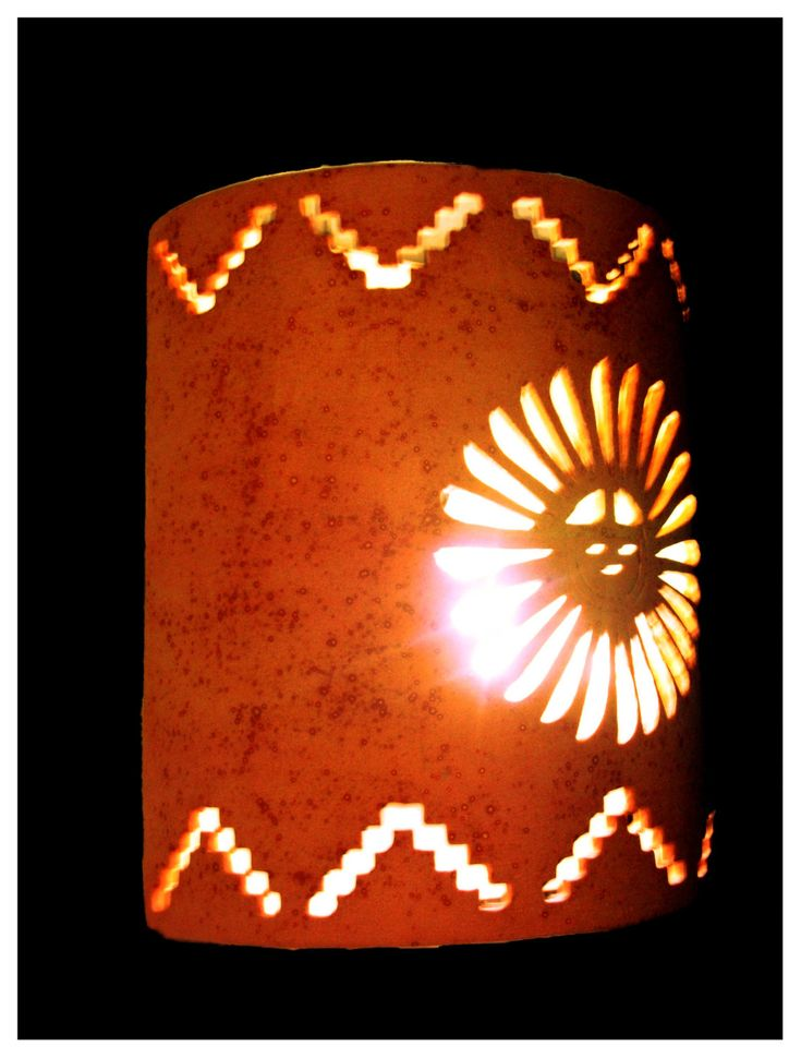 Southwestern style sunface and step cutout exterior or interior wall sconce - pinned by pin4etsy.com