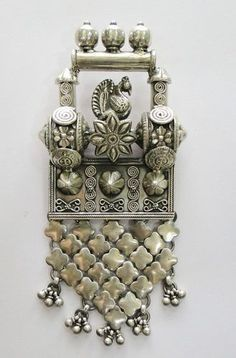 Vintage sterling silver pendant amulet from Rajasthan