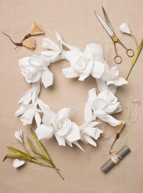 diy   paper flower wreath   via: the house that lars built » Could be a cute centerpiece idea.
