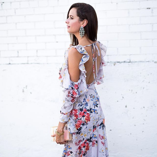 New York for Fashion Week is my next trip, and I'm already thinking about what to pack!! Pretty sure this ruffled, cold-shoulder maxi needs to be in my suitcase!! Can't get over how gorgeous it is- just wait until you see the front!! :heart_eyes::heart_ey