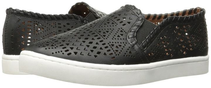 Report Ashley laser cut slip on black tennis shoes Muuuuust Haaaave !!!