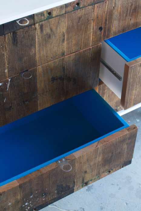 blue lacquer drawer interiors