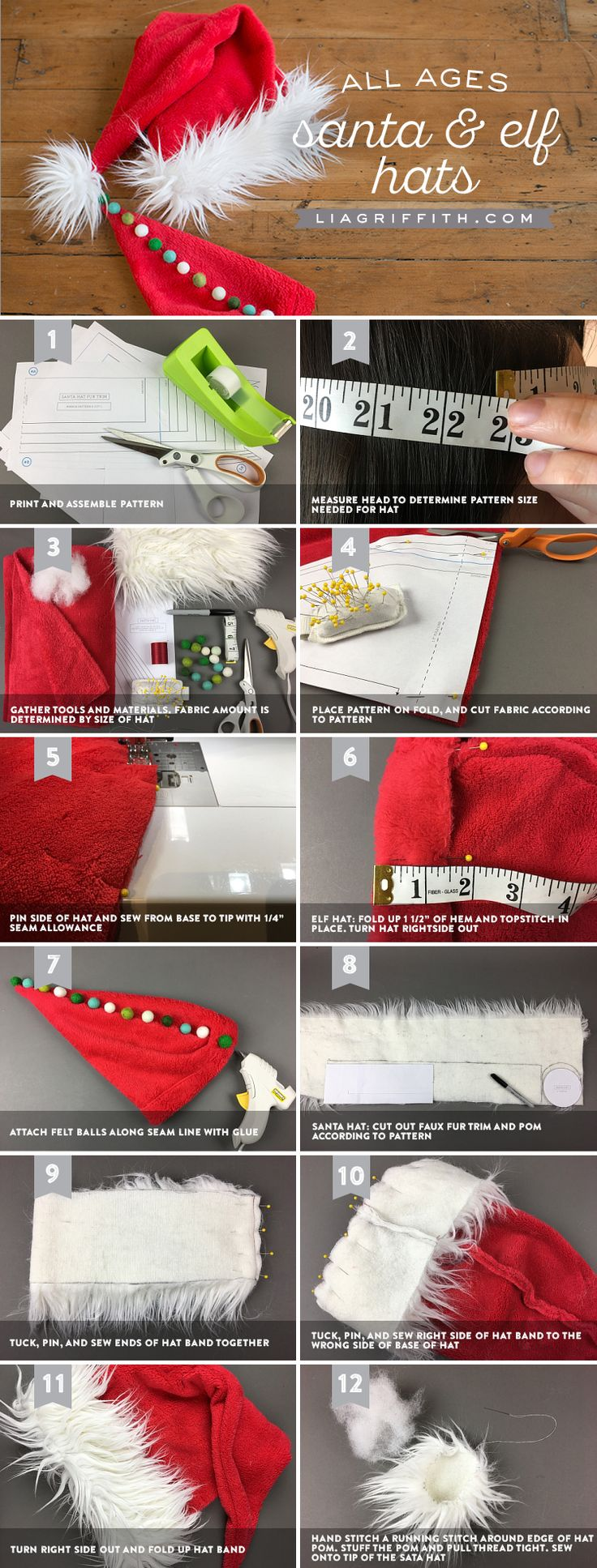 DIY Elf and Santa Hats - Lia Griffith