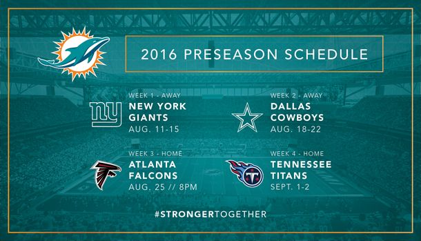 Dolphins Announce 2016 Preseason Schedule http://sumo.ly/hK2z