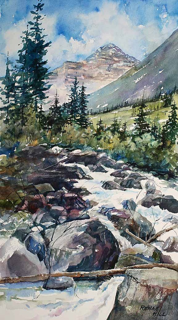 Original Watercolor Print RAGING WATER By RenaeHillFineArt On Etsy 2800