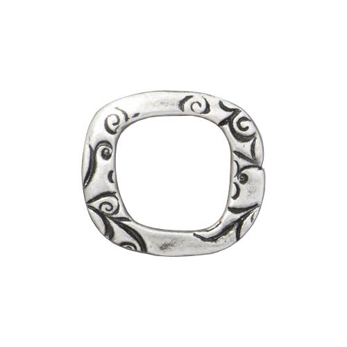 Pewter 16mm Jardin Square Link with an antiqued finish designed and manufactured by TierraCast. Each link is 15mm high x 17mm wide and 1.8mm thick. This link has an organic square shape with a 10mm cut-out center. The link is covered with abstract floral and leaf patterns on either side. Add this link to your next jewelry project for a fresh, romantic, fun and unexpected look.