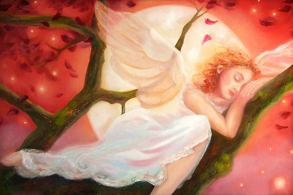 Title: DREAMS OF STRAWBERRY MOON  Artist: MICHAEL ROCK    A magical sky of falling leaves and radiant orbs fill the strawberry colored sky as the full moon rises behind an angelic beauty in a serene dream.    Like this painting? Original and prints for sale at www.michael-rock.artistwebsites.com