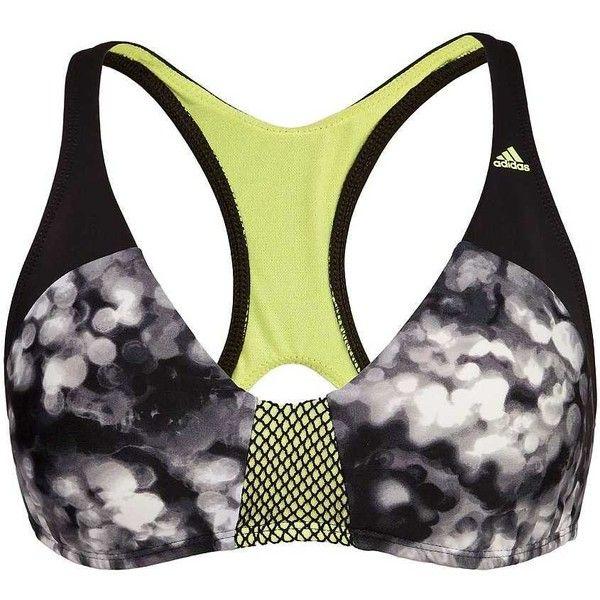 Adidas Space Case Swimwear Top - Grey/Black Medium (345 ZAR) ❤ liked on Polyvore featuring swimwear, bikinis, bikini tops, racerback bikinis, adidas two piece, racerback tankini top, racer back bikini and swim suit tops