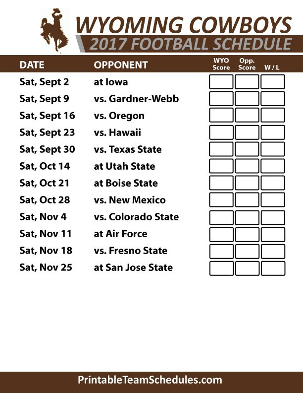 2017 Wyoming Cowboys Football Schedule