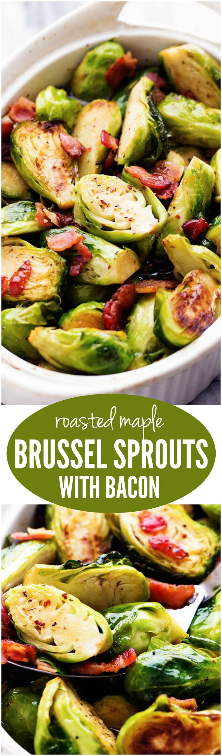 The sweet maple glaze and bacon complement these roasted brussel sprouts perfectly. This will be a side dish that the family won't be able to get enough of!