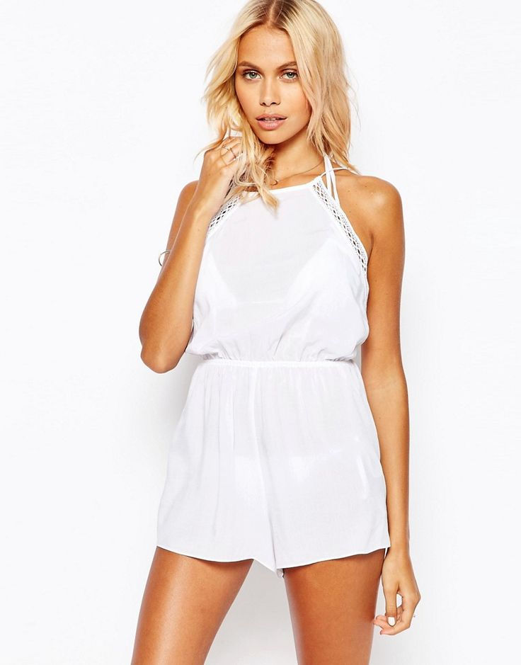 Image 1 of ASOS Lattice Trim Beach Playsuit