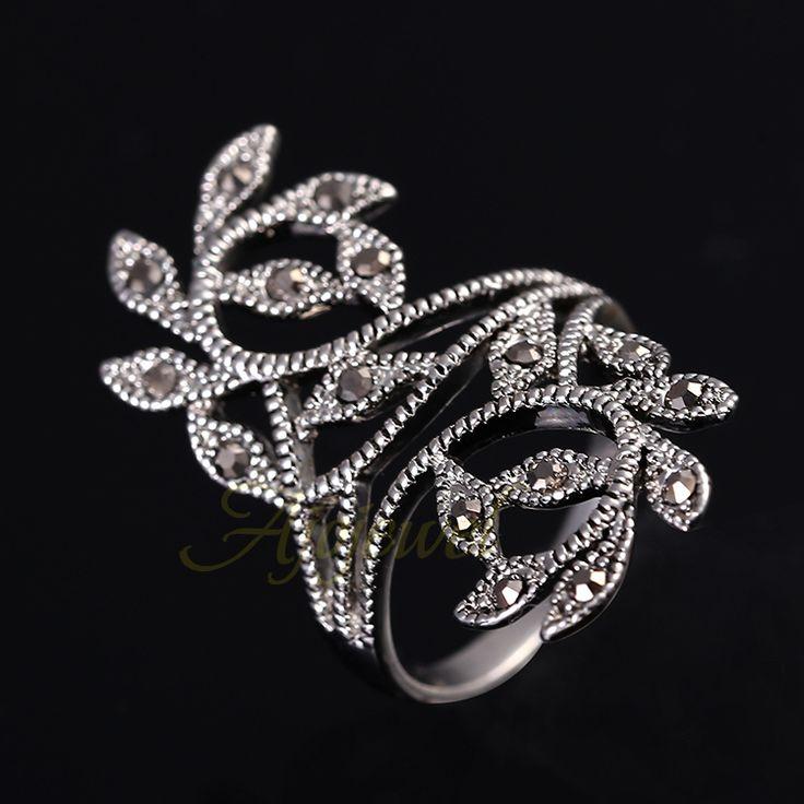 Купить товарЦинковый сплав покрытие античное серебро черный CZ ретро винтажный листья кольцо для женщины в категории Кольцана AliExpress.      Уникальный 2014 Новый Серебряный позолоченный Весы Ретро старинные антикварные кольца для мужчин/женщин    $2
