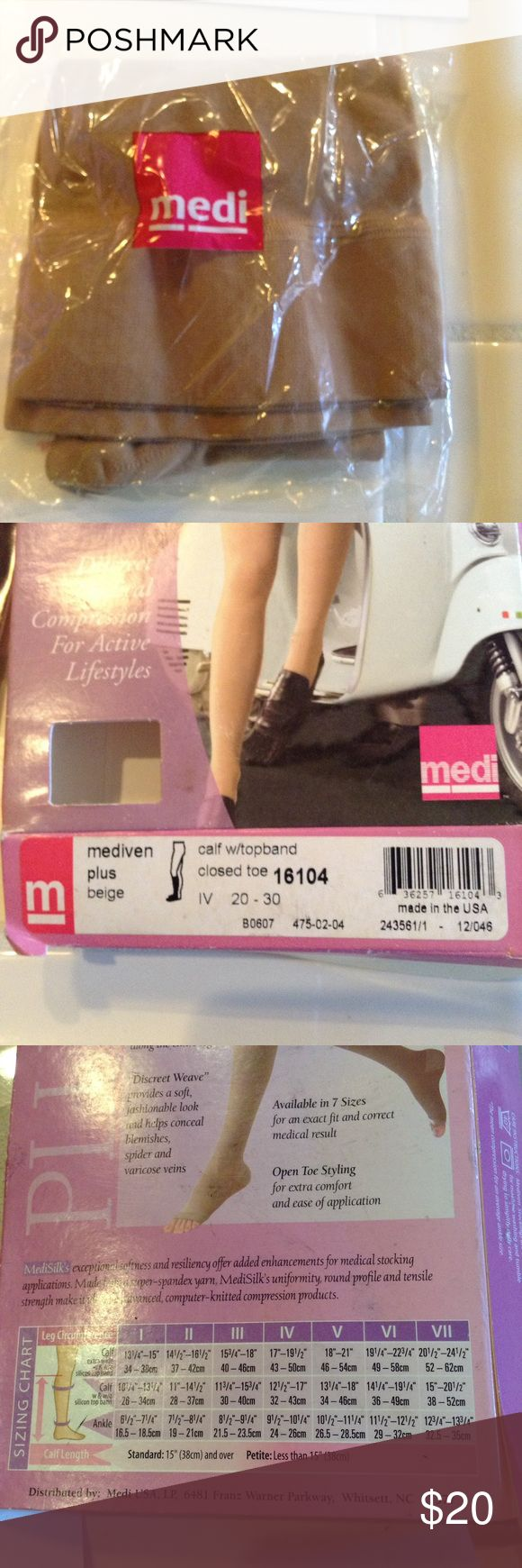 NEW Beige closed toe compression stocking. Size IV Medi enhances mobility and performance for patients with osteoarthritis, osteoporosis, and other joint issues. Medium pressure for varicose veins, edema, swelling. Made from a super-spandex yarn. Beige, closed toe compression stocking. size IV. See measurements in photos Medi Intimates & Sleepwear Shapewear