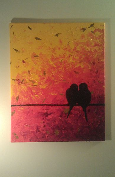 Impasto Original Acrylic Painting Birds Love On A by kidmenotart, $55.00