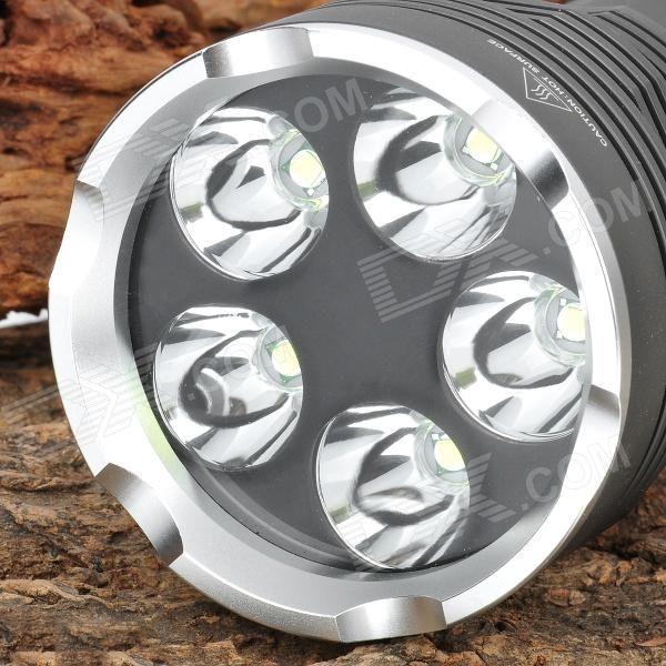 FandyFire 4000LM 5-Mode White Light Flashlight - Dark Grey (4 x 18650) - Free Shipping - DealExtreme