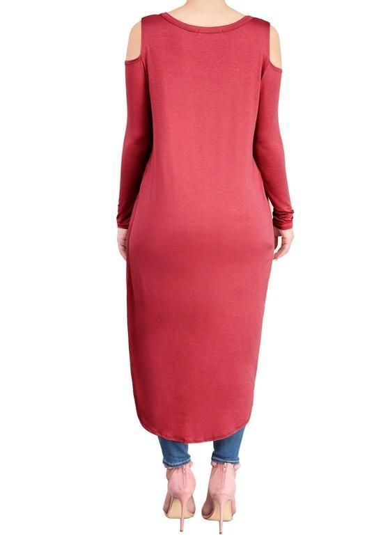 eeb013b53f DaysCloth Burgundy Swallowtail Cut Out Off-shoulder High-low Long Sleeve  Casual Midi Dress